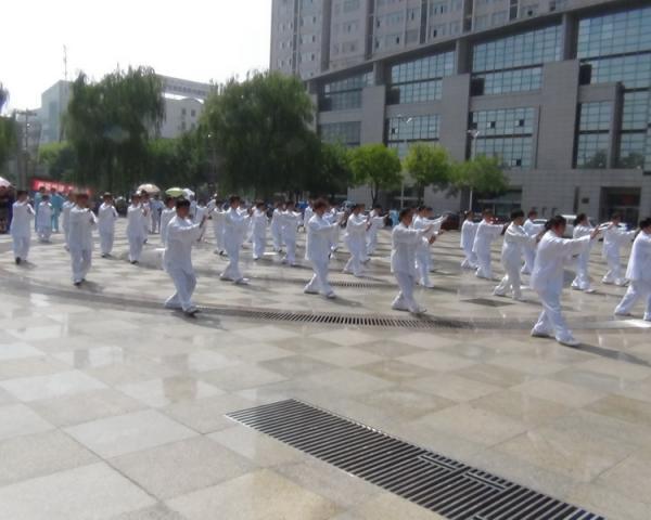50多人段杨式段位制太极拳的表演_缩小大小